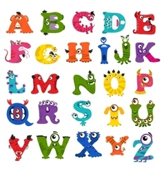 Funny monster alphabet for kids vector