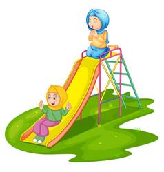Girls at playground isolated vector