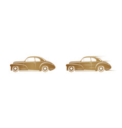 golden classic car silhouette on white background vector image