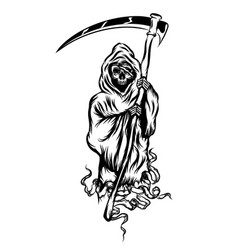 grim reaper standing and holding scythe vector image