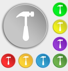 Hammer icon sign Symbol on eight flat buttons vector image