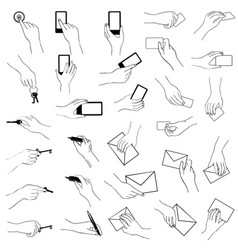 Hand gestures collection hands holding key phone vector