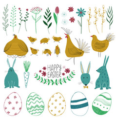 happy easter collection with funny elements vector image
