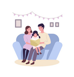 happy family sitting on sofa and reading vector image