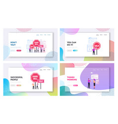 Hard sell landing page template set promoter use vector