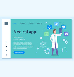 Healthcare industry technologies medical app vector