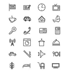 Hotel and restaurant line icons 1 vector