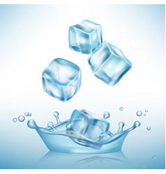ice splashes cube freeze water puddles and vector image