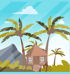 image a bungalow on shore a lagoon vector image