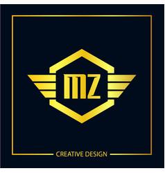 Initial letter mz logo template design vector