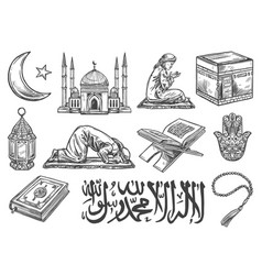 Islam religion symbols and cultural icons isolated vector