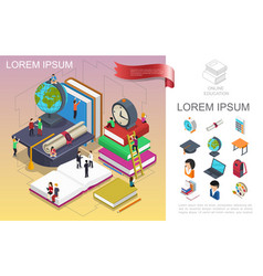 isometric online education concept vector image