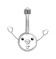 kawaii banjo jazz instrument musical festival vector image