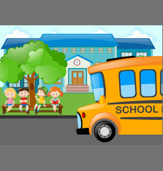 kids waiting for school bus vector image