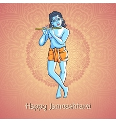 Krishna playing the flute for vector