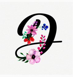 Letter d watercolor floral background vector