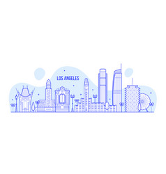 los angeles skyline usa city buildings vector image
