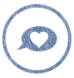 Love message balloon rounded fabric textured icon vector