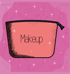 make up bag container icon vector image