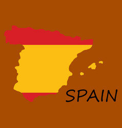 Map of spain with national flag isolated on white vector