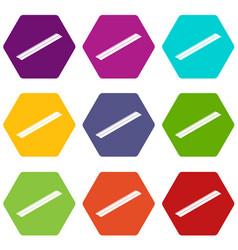 metal bar icons set 9 vector image