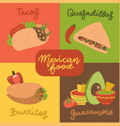 mexican food menu mini posters set vector image