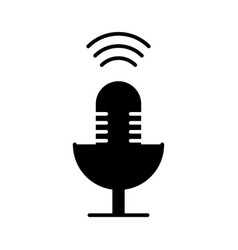 microphone mic icon black vector image