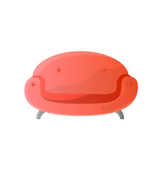 modern red round shaped sofa with steel legs vector image
