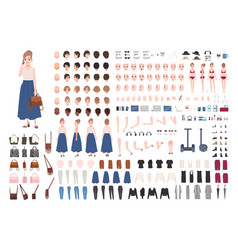 Modern young woman constructor or animation kit vector