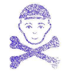 Mortal boy head icon grunge watermark vector
