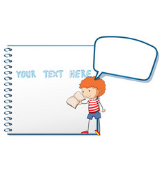 notebook template with boy reading vector image