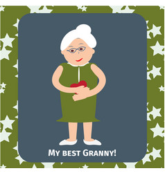 old woman senior lady with glasses walking vector image