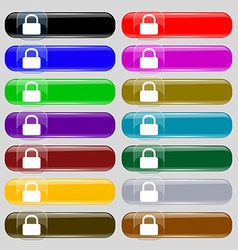 Pad Lock icon sign Set from fourteen multi-colored vector