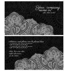 Paisley lace black business card vector