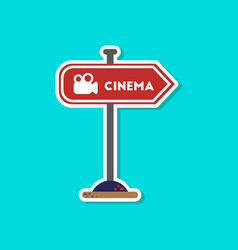 Paper sticker on stylish background cinema sign vector