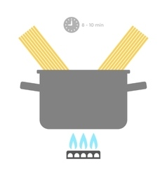 Pasta in pan cooking time of food flat color vector