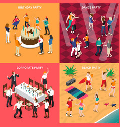 People at party isometric design concept vector