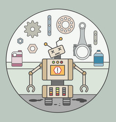 picture of broken robot with error sign vector image