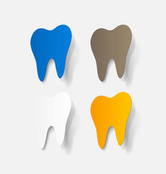 Realistic paper sticker tooth vector