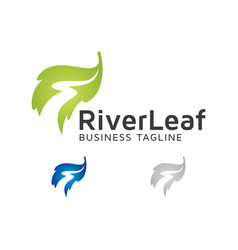 River leaf logo design vector