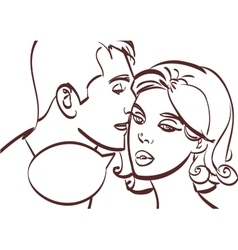 Romantic couplemale whispers in womans ear vector