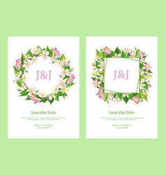save date card templates set cherry blossom vector image