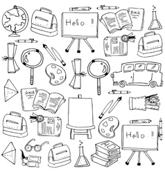 School supplies tools doodles vector