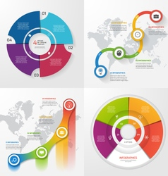 Set 4 infographic templates with 4 steps vector