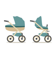 set baby carriage color flat vector image