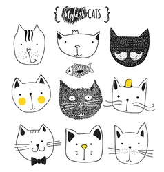 Set of cute doodle cats Sketch cat Cat handmade vector image