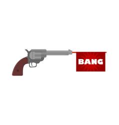 Shooting toy gun pistol with bang flag ico vector