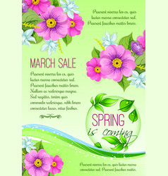 spring sale poster of pink flowers vector image