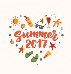 summer 2017 text with beach elements sunscreen vector image