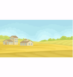 summer rural landscape with village houses field vector image